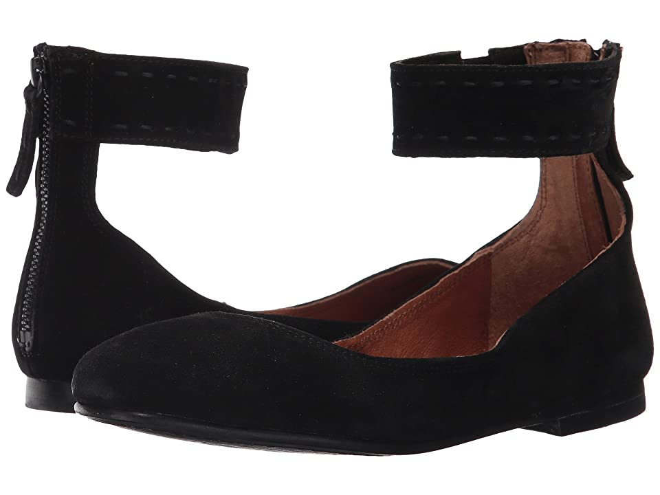 Frye Carson Ankle Ballet (Black Soft Oiled Suede) Women