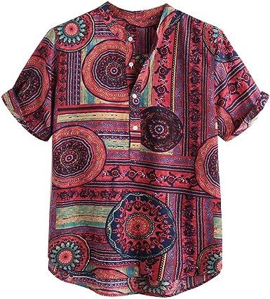 Dragon868 Camisas Hawaiana Hombre Manga Corta Estampada Vocación de Verano Tops