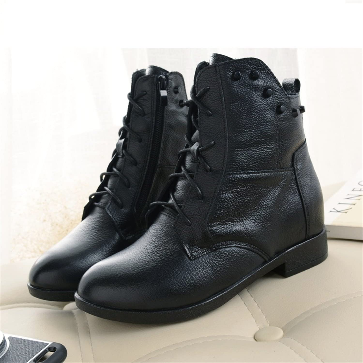 Taylor Heart Nice;Fashion Fashions Snow Boots Women's shoes Mother Ladies Female Plush Winter Fur Rubber Genuine Leather Lace Up Flats Round Toe GZXM8812