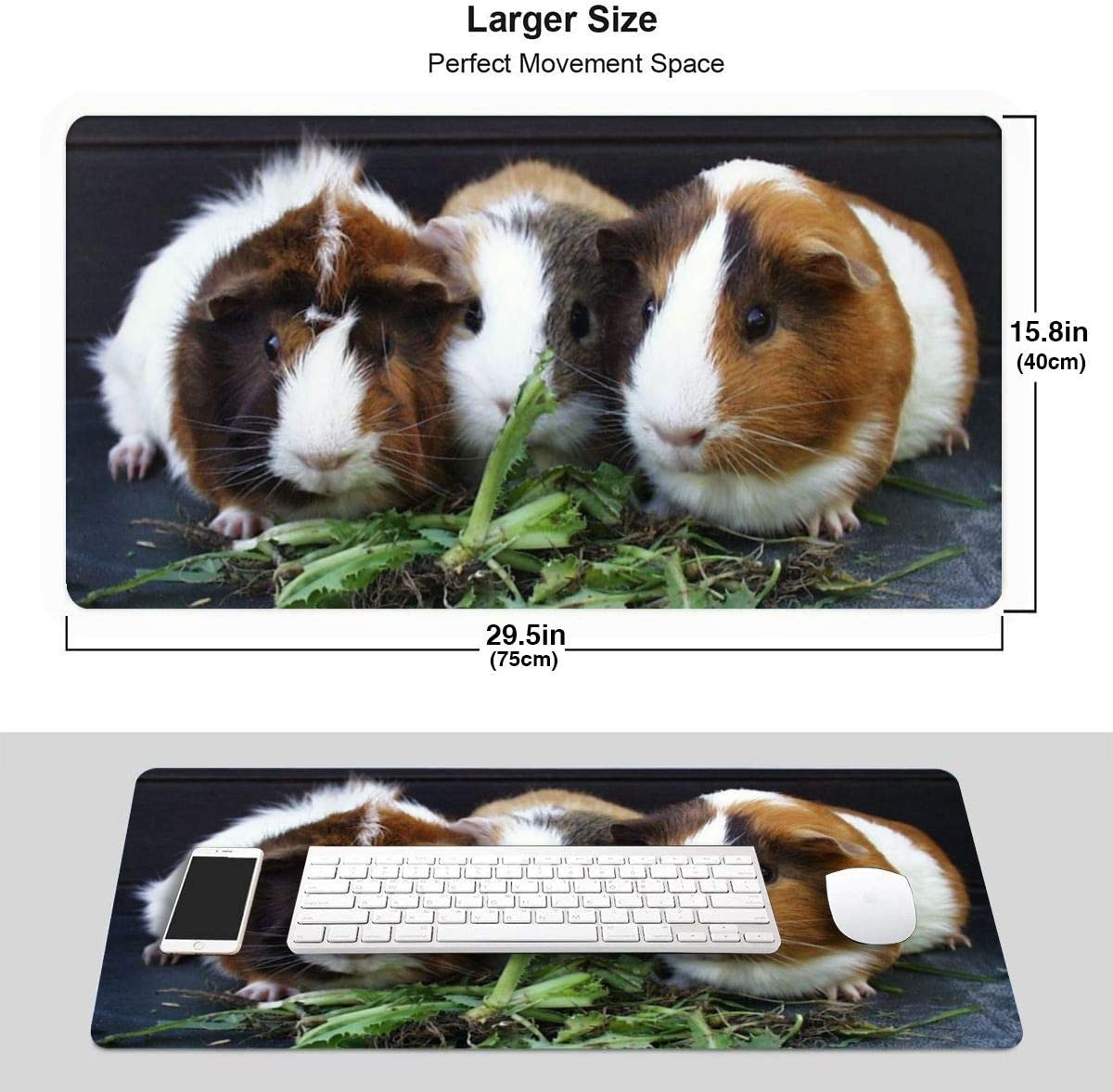 Non-Slip Rubber Base with Durable Stitched Edges for Desktop Laptop Keyboard Consoles 29.5x15.8x0.12 in NCUEMOU Bamboo Rat Gaming Mouse Pad,Large Mouse Pad