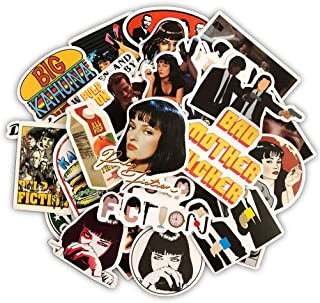 Cool Movie Laptop Stickers 50pcs Pack Vinyl Skateboard Water Bottle Computer Travel Case Guitar Snowboard Luggage Car Bike Phone Graffiti Decal (Pulp Fiction)