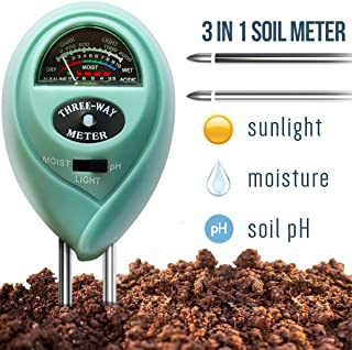 7Pros Soil Test Kit Moisture Meter 3 in 1 Plant Water Meter Light Tester for Potted Plants, Soil PH Meter for Garden, Farm, Lawn Indoor/Outdoor Plant Care Tool, Easy Read Indicator No Battery Needed