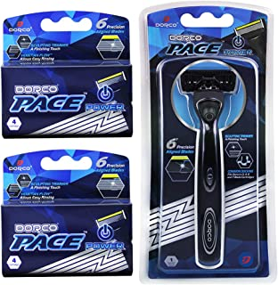Dorco Pace 6 Plus Power - Six Blade Power Razor System with Trimmer (9 Cartridges + 1 Handle…)