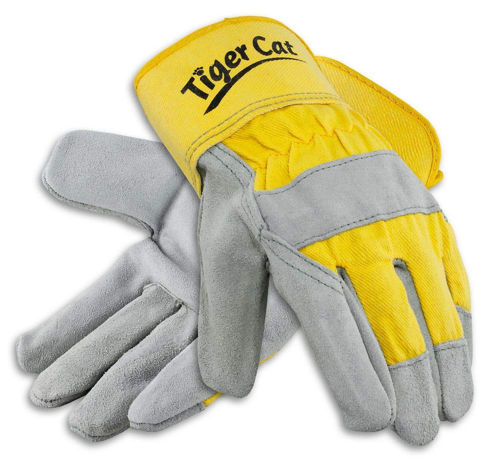 Galeton Limited time sale Tiger Cat Premium Leather Yellow Cuff Palm Safety Popular Gloves