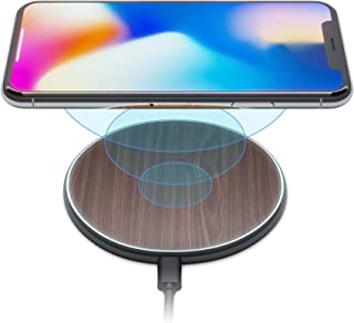 iPhone X 8 Qi Best Wireless Charger Pad Kit by Wuteku New 2019 Upgraded - Stylish Natural Bamboo Wood Look Thin Slim Desig...