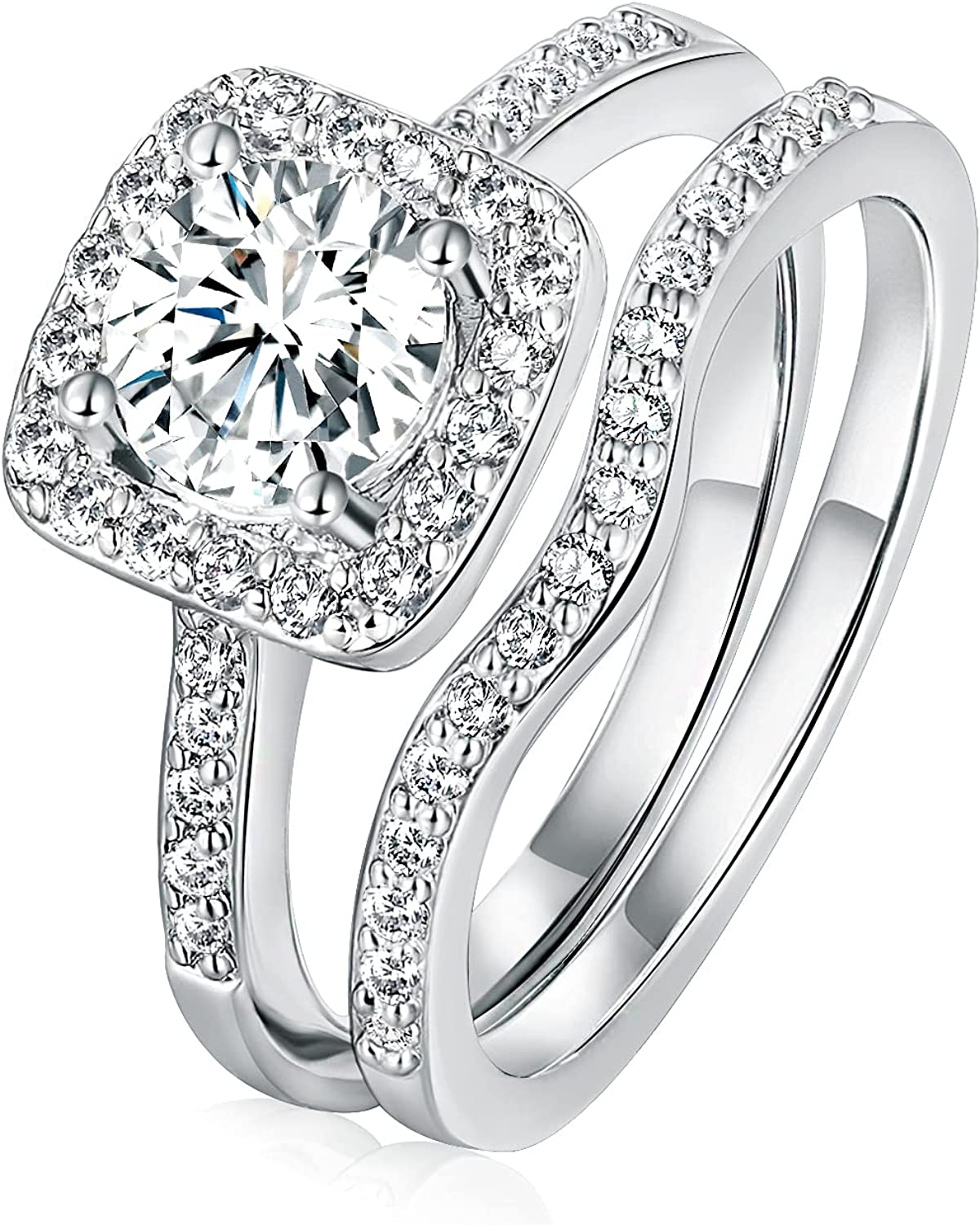 Engagement Wedding Rings Set for Women, 18K White Gold Plated Two-in-One Cubic Zirconia Eternity Bridal Rings Bands