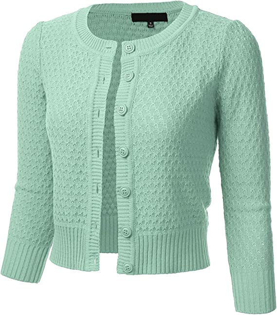 1940s Style Sweaters, Cardigans and Knitwear FLORIA Womens Button Down 3/4 Sleeve Crew Neck Cotton Knit Cropped Cardigan Sweater (S-3X) $25.99 AT vintagedancer.com