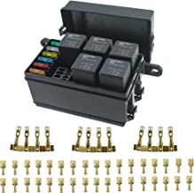 12-Slot Relay Fuse Box,6 Relays,6 ATC/ATO Fuses Holder Block with 41pcs Metallic Pins for Automotive and Jeep Boat Car Marine Engine Bay