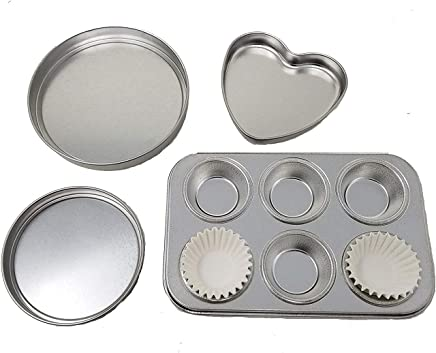 4 Pan Kit to fit Easy Ovens Bake , Heart Pan, 2 Round Pans &