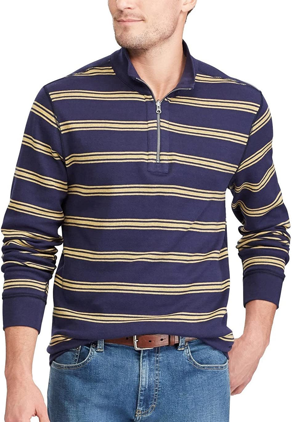 Chaps Men's Reversible Mockneck Newport Pullover Long Sleeve Shirt