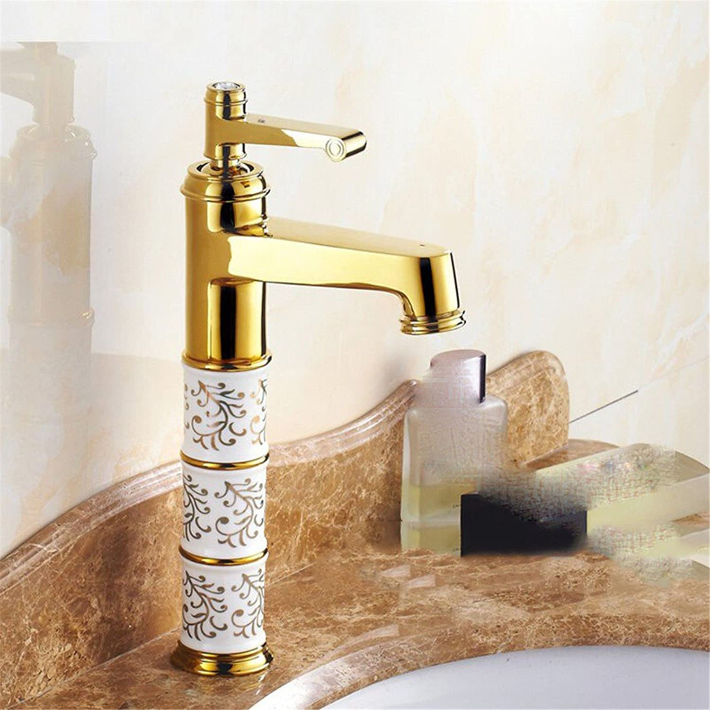 Fbict European Retro Antique Faucet hot and Cold All Copper on The countertop Basin golden wash Basin Basin Faucet, gold for Kitchen Bathroom Faucet Bid Tap