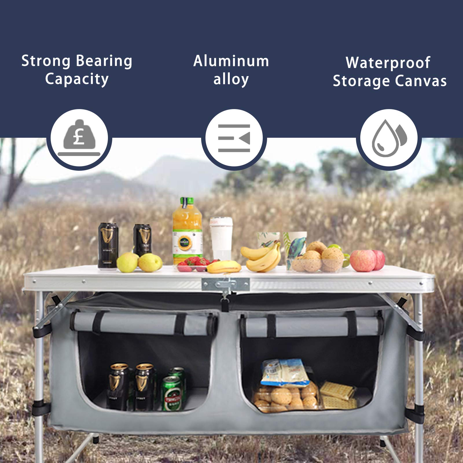 Camp Field Camping Table with Adjustable Legs for Beach, Backyards, BBQ, Party and Picnic Table …