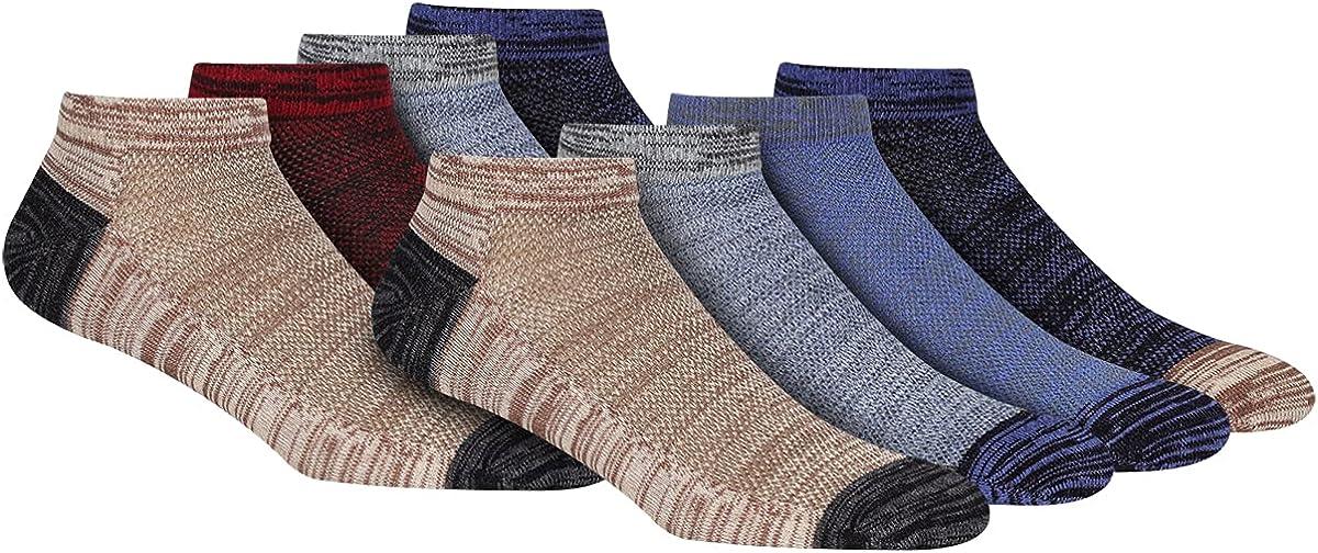 FLYRUN Men's 8 Pack Low Cut No Show Socks Mens Cotton Ankle Performance Casual Socks