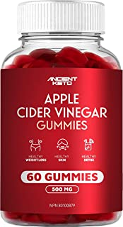 Apple Cider Vinegar Gummy, Great Tasting, Low Sugar, Supports Healthy Digestion, Weight, Skin, Detox, Gluten Free, Vegan, ...