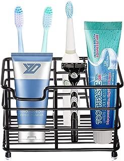 HYRIXDIRECT Toothbrush Holder Black Plating Stainless Steel Rustproof Bathroom Electric Toothbrush Holder Toothpaste Storage Organizer Multi-Functional 6 Slots Stand for Vanity,Countertops (Black-01)