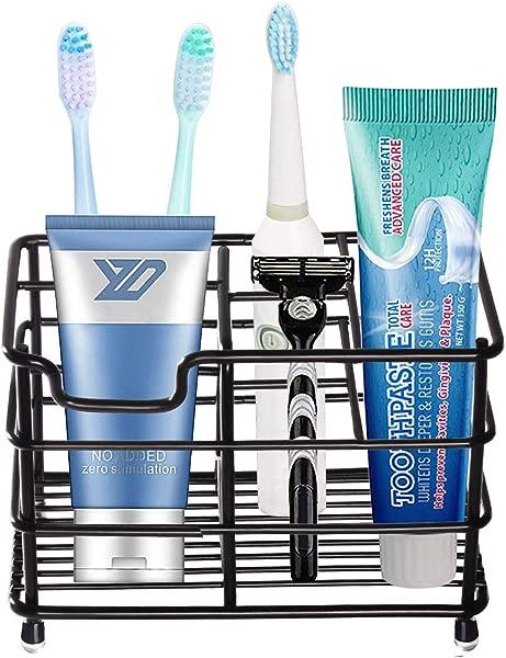 HYRIXDIRECT Toothbrush Holder Black Plating Stainless Steel Rustproof Bathroom Electric Toothbrush Holder Toothpaste Storage Organizer Multi Functional 6 Slots Stand For Vanity Countertops Black 01