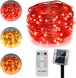 ErChen Dual-Color Solar Powered LED String Lights, 33FT 100 LEDs Remote Control Color Changing 8 Modes Copper Wire Decorative Fairy Lights for Outdoor Garden Patio (Warm White, Red)