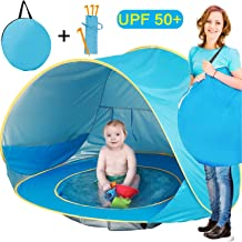 TURNMEON Baby Beach Tent, Pop Up Portable Sun Shelter with Pool, 50+ UPF UV Protection & Waterproof 300MM, Summer Outdoor Baby Tent for Aged 0-4 Infant Toddler Kids Parks Beach Shade