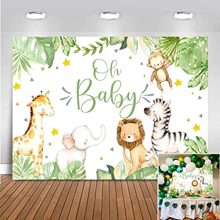 Zhy Forest King Tiger Backdrop 7X5FT Jungle Safari Green Grassland Lawn Animal Theme Party Decor Background for Photography Baby Newborn Kids Child Studio Twitter Booth Props GEEV375