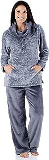 Women's Fleece 2-Piece Cowl Neck Pullover Loungewear Pajamas