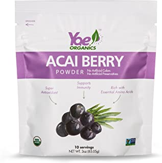 Yae! Organics 100% Pure Acai Berry Juice Powder, 3oz/10 Servings, Super Antioxidant, Supports Immunity, Rich with Essential Amino Acids, Great for Skin Health, Digestion and Heart Health.