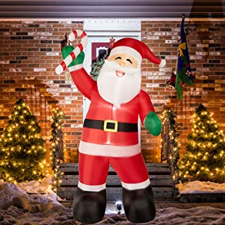 SUPERJARE 8 Ft Christmas Inflatable Santa Claus with Candy, Airblown Christmas Decoration with LED Light, Animated for Yard Party Lawn, Indoor & Outdoor