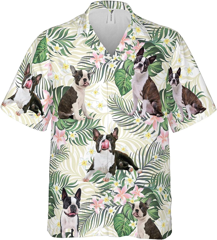 Dog Lover Summer Men's Hawaiian Shirt Short Sleeves Printed Button Down Summer Beach Dress Shirts Series 221