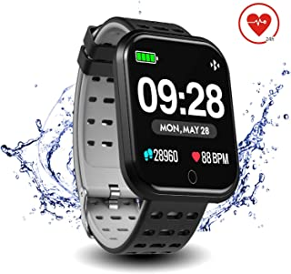"""Surpro Smart Watch Heart Rate Monitor, 1.3""""Bright Color Screen Waterproof Pedometer Wrist Watch, Bluetooth Running GPS Fitness Tracker Watch for Android & iOS Phones"""