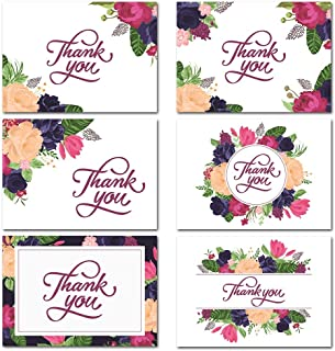 Thank You Cards – 36 Floral Thank You Card Notes Including Envelope Stickers – 6 Floral Designs for a Wedding, Bridal and Baby Shower, Graduation and Anniversary – Blank on the Inside - 4 x 6 inch