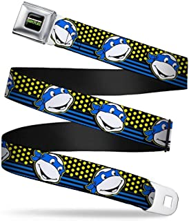 Buckle-Down Seatbelt Belt - Classic TMNT Leonardo Expression Dots/Stripes Black/Yellow/Blue/White - 1.5