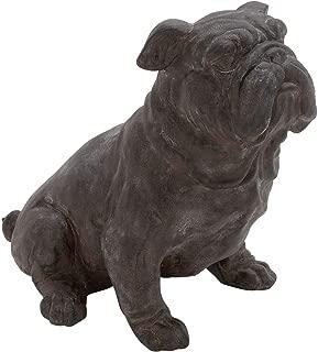 MISC Brown Bronze Bulldog Statue Sitting Dog Sculpture Puppy Art Decor Stone Artistic Pose Yard Garden Front Porch Decorative, Resin Polystone 13x17