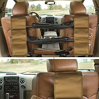 GVN Car Concealed Seat Back Gun Rack to Hold 3 Rifles for Rifle Hunting Fits Most Sedans SUVs Pickup Mini Vans Jeeps in Pair (Black/Tan)