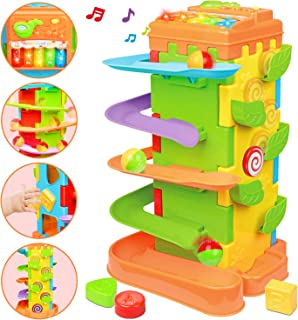 LUKAT Cube d'Activités pour Bébé, Centre d'activités Multifonctions 4 en 1 avec Piste de Rampe Jouets éducatifs musicaux p...