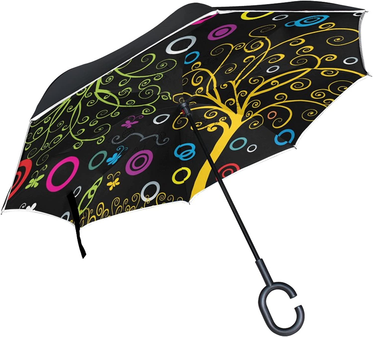 ALAZA Tree of Life Ingreened Umbrella Double Layer Windproof Reverse Folding Umbrella for Car with C-Shape Handle