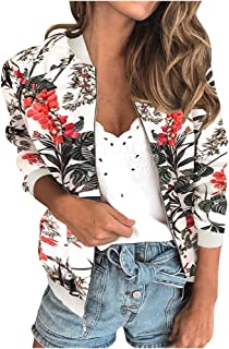 Womens Ladies Retro Floral Zipper Up Bomber Jacket Coat,Casual Coat Outwear Tops