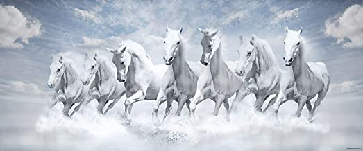 Walls and Murals Artist Work Peel and Stick Non Tearable Washable Vinyl Large 7Horses Running Painting, 20x48 Inch (Multicolour)