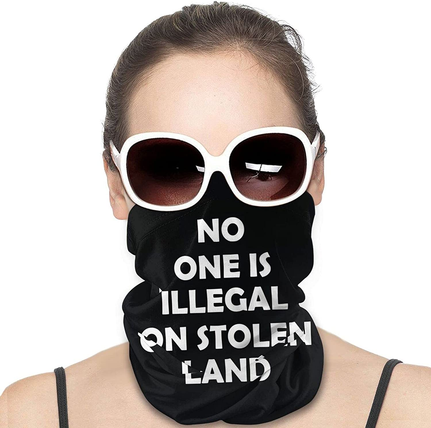 No One Is Illegal On Stolen Land Round Neck Gaiter Bandnas Face Cover Uv Protection Prevent bask in Ice Scarf Headbands Perfect for Motorcycle Cycling Running Festival Raves Outdoors