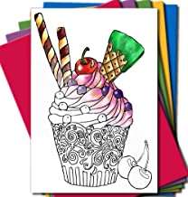 Art Eclect Adult Coloring Greeting Cards for Birthday, Anniversary and Every Occasions (10 Cards With 10 Different Unique Designs and 10 Colored Envelopes Included, Set C/Rainbow)