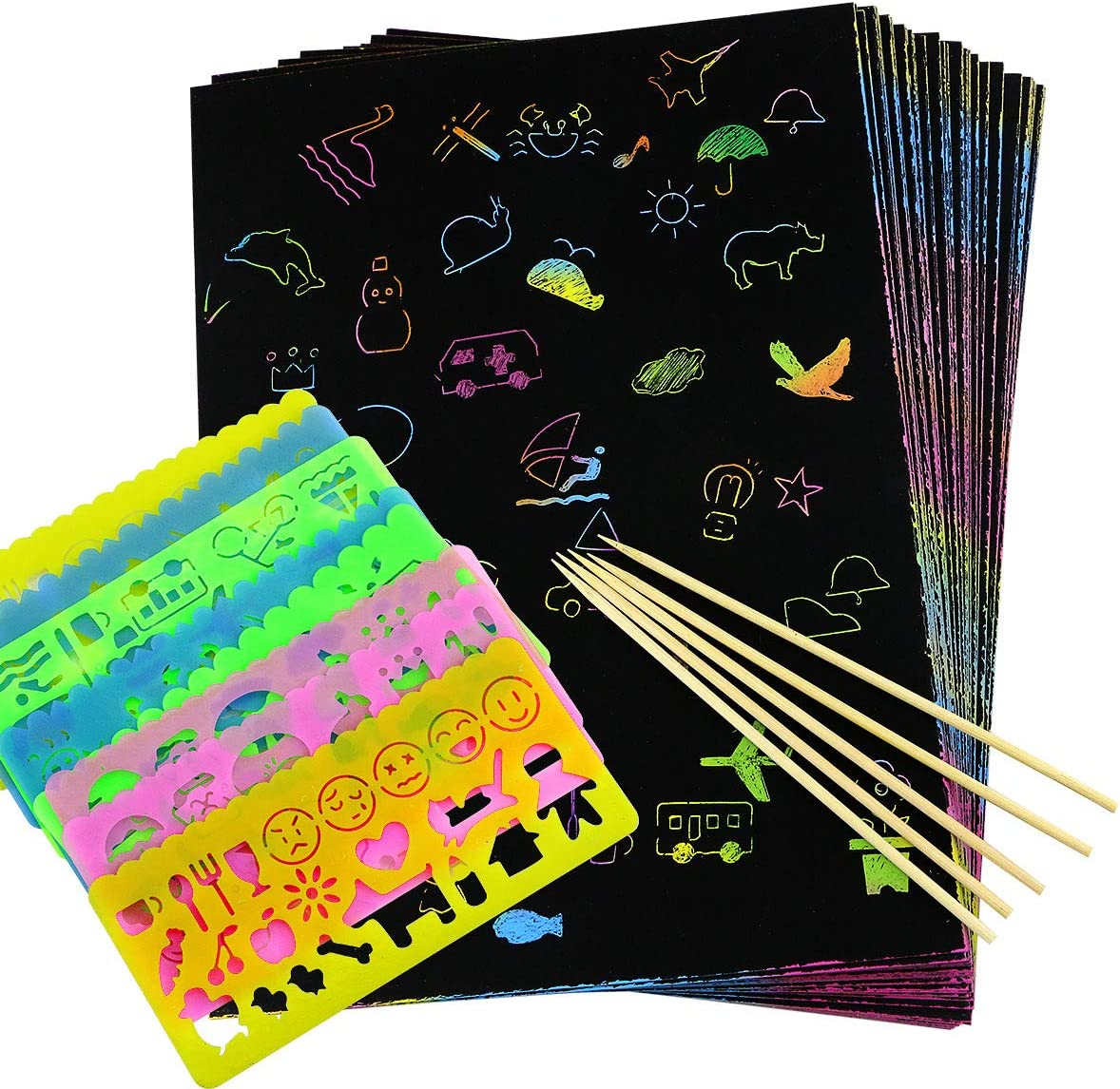 gift DLOnline 50 Overseas parallel import regular item Pieces Rainbow Magic Scratch Wooden 5 Paper with Sty