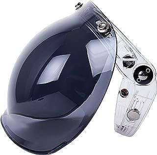 Universal 3-Snap Button Bubble Helmet Visor Motorcycle Face Flip Up Wind Shield Lens (Smoke)