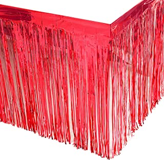 Leegleri 2 Pack Red Metallic Foil Fringe Table Skirt Tinsel Party Plastic Table Skirt Banner for Parade Floats Mardi Gras Party Decoration(L108 inH 29in)