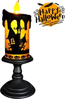 Eldnacele Halloween Snow Globe Candles Lighted Lamp, Battery Operated Spinning Water Glittering Tornado Flameless Candles Table Centerpiece for Halloween Celebration Parties(Halloween)