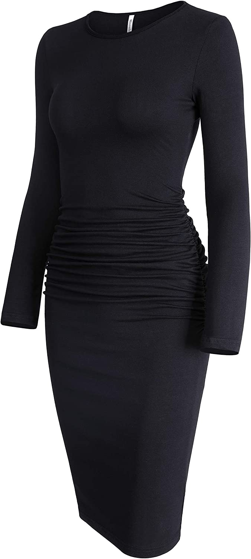 Missufe Women's Long Sleeve Ruched Casual Sundress Midi Bodycon Sheath Dress