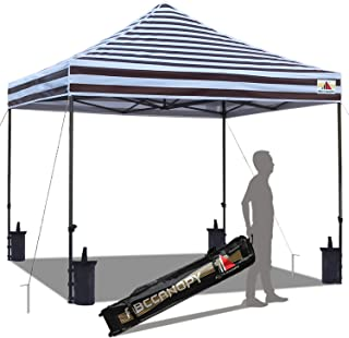 ABCCANOPY Pop up Canopy Tent Commercial Instant Shelter with Wheeled Carry Bag, Bonus 4 Canopy Sand Bags, 10x10 ft Carnival Brown