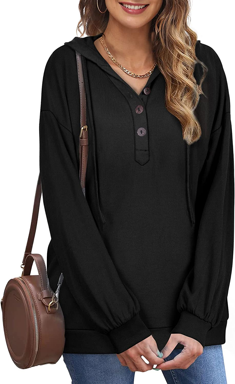 Saloogoe Lightweight V Neck Hoodies for women Button Hooded Sweatshirts Fall Long Sleeve Tops S-2XL