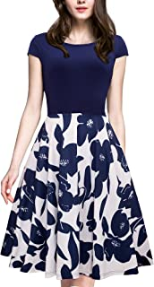 HOMEYEE Women's 1950s Vintage Elegant Cap Sleeve Swing Party Dress A009