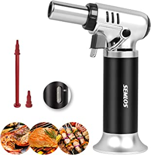 Semlos Butane Torch, Kitchen Torch Refillable Blow Torch Lighter with Adjustable Flame & Gas Window Gauge for Baking, Brul...