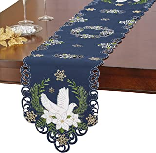 Collections Etc Navy Blue Religious Holiday Embroidered Table Linens with Doves, Poinsettias & Gold Snowflakes, Runner