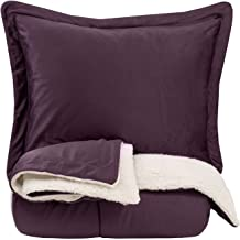 Sweet Home Collection Comforter Set 3 Piece Sherpa Soft and Luxurious Plush All Season Warmth Down Alternative Reversible to Solid Color with 2 Shams King Black King Purple 3PC-SHERP-K-PURP
