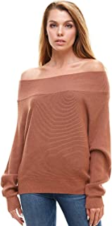 Alexander + David Women's Off The Shoulder Fall Sweater - Rib Knit Pullover Top